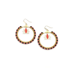 oucles d'oreilles Miyuki Lotus - Watermelon, Noir & Doré - Crochets Gold Filled