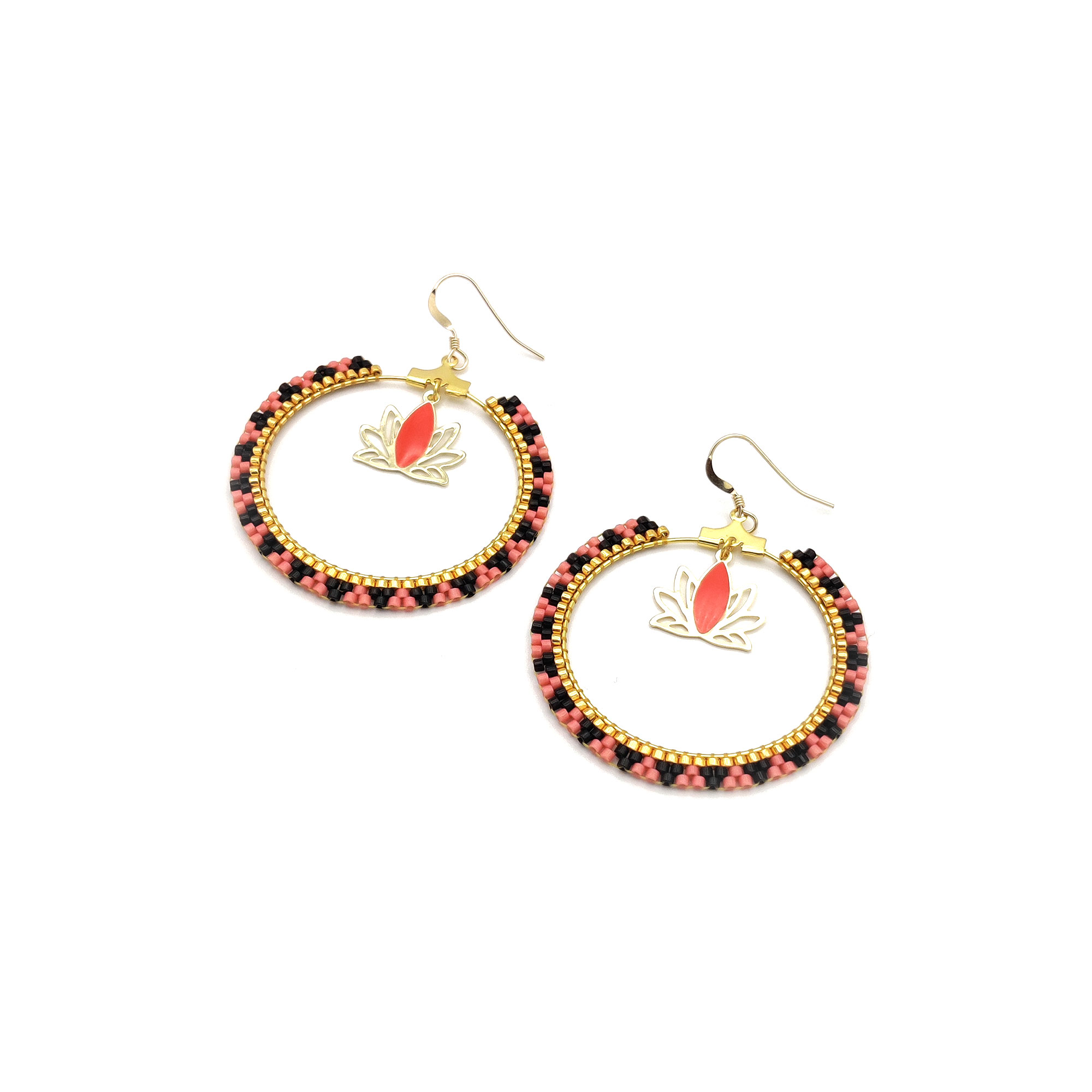 Boucles d'oreilles Miyuki Lotus - Watermelon, Noir & Doré - Crochets Gold Filled